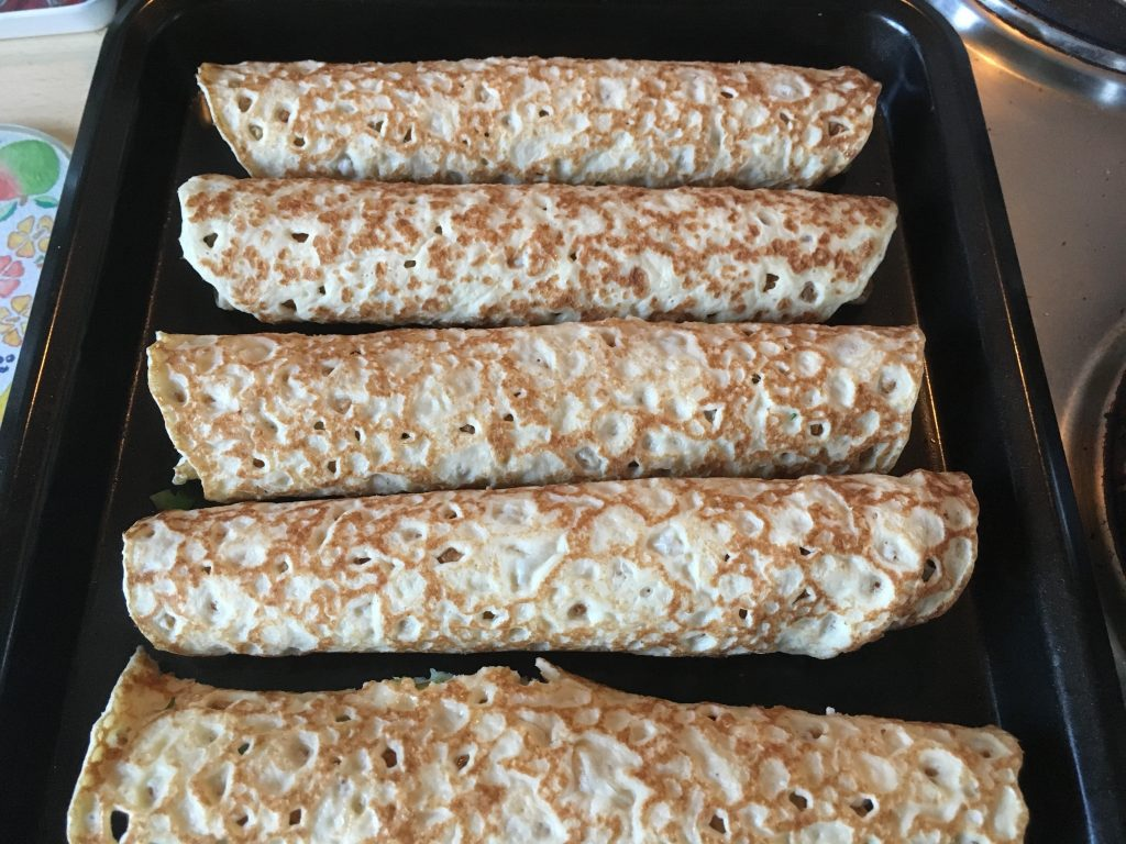 Leek & Goat's Cheese Crêpes (ready to go in the oven)