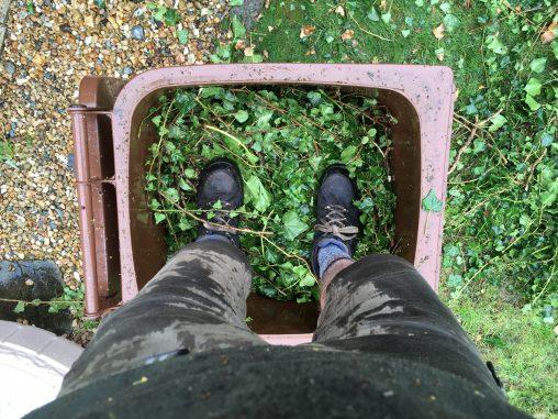 Me maximising the green waste bin capacity
