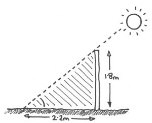 Illustration showing the length of the shadow cast by the sun for a 1.8m high fence at mid-day in March and September