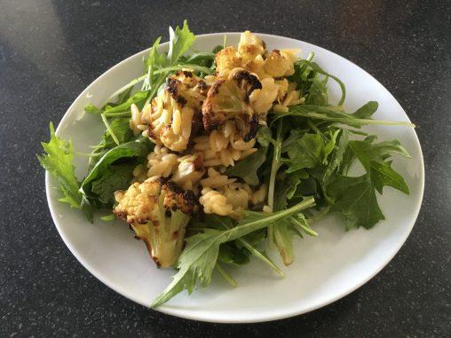Charred cauliflower, lemon & caper orzo